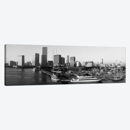 Miami Panoramic Skyline Cityscape (Black & White - Sunrise) Canvas Print #6259} by Unknown Artist Canvas Art