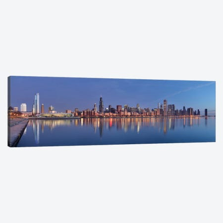 Chicago Panoramic Skyline Cityscape (Sunset) Canvas Print #6262} Art Print