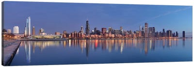 Chicago Panoramic Skyline Cityscape (Sunset) Canvas Art Print