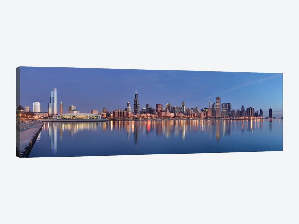 Chicago Panoramic Skyline Cityscape (Sunset) 1-piece Canvas Art Print