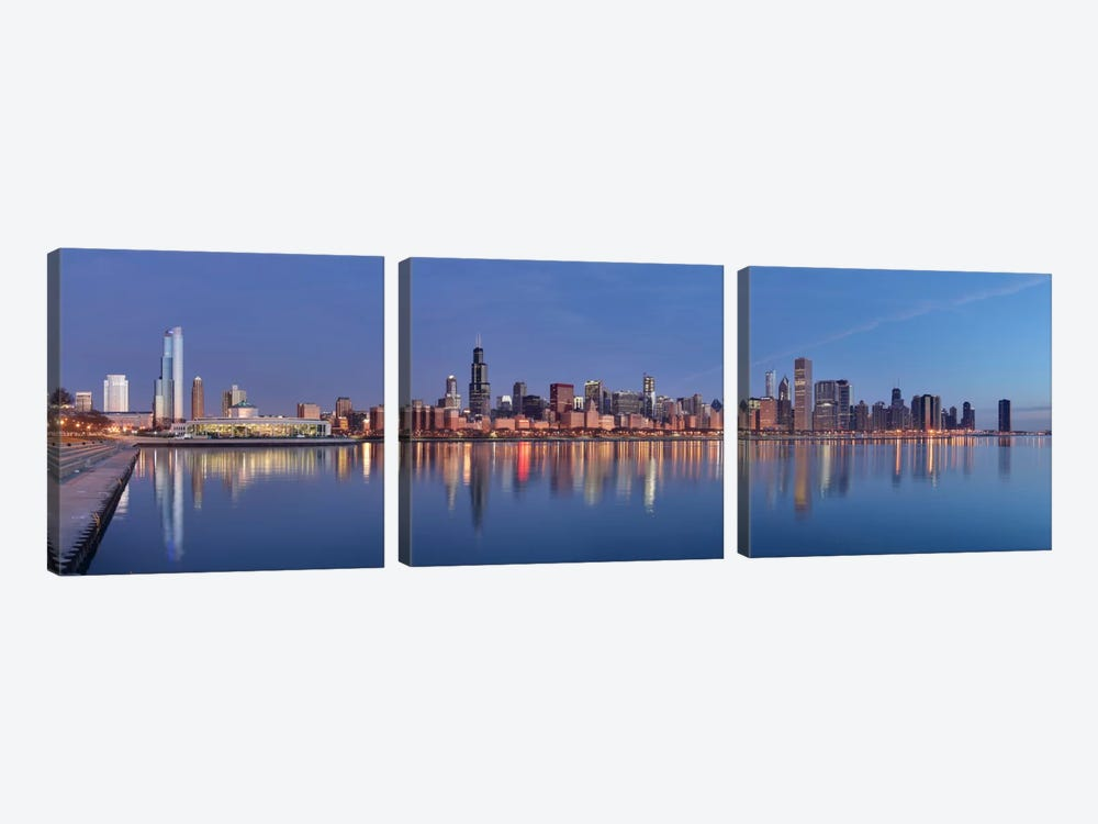 Chicago Panoramic Skyline Cityscape (Sunset) 3-piece Canvas Art Print