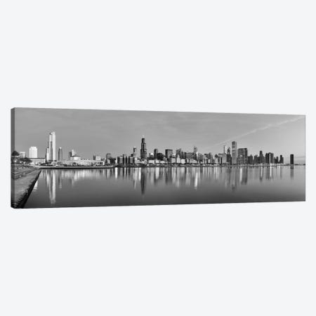 Chicago Panoramic Skyline Cityscape (Black & White - Sunset) Canvas Print #6263} Canvas Print