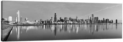 Chicago Panoramic Skyline Cityscape (Black & White - Sunset) Canvas Art Print