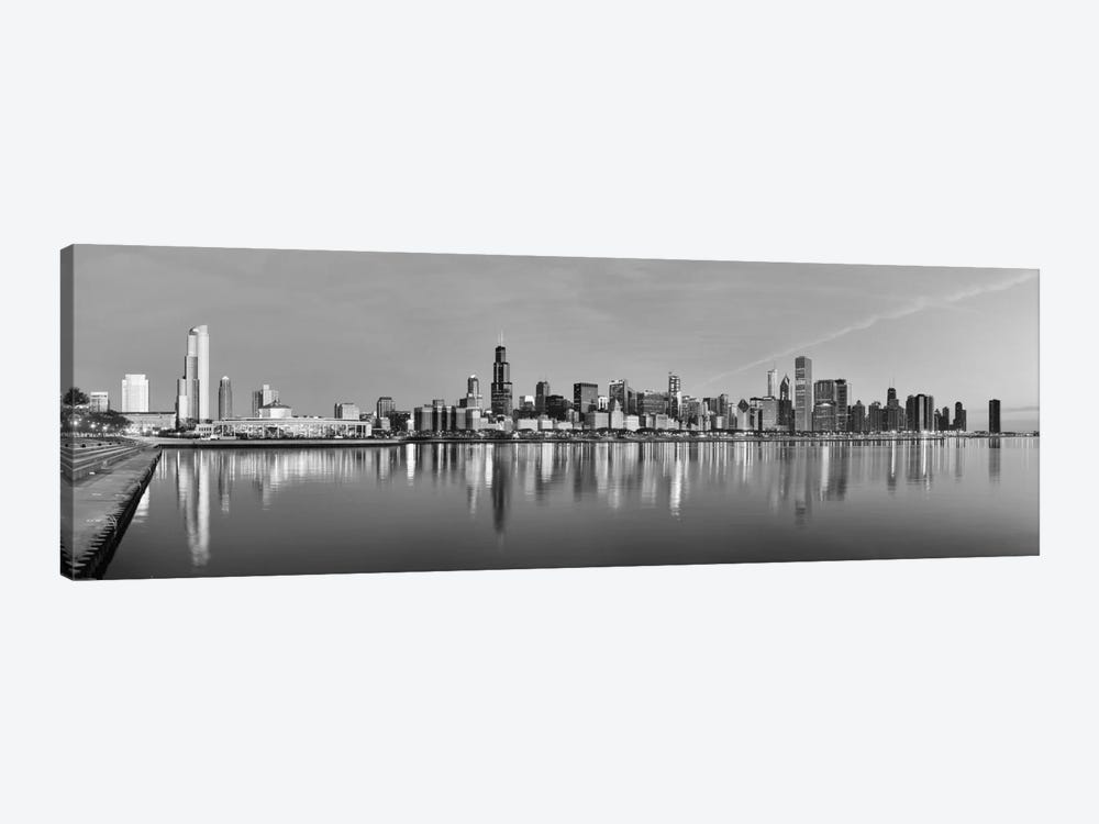 Chicago Panoramic Skyline Cityscape (Black & White - Sunset) 1-piece Canvas Artwork