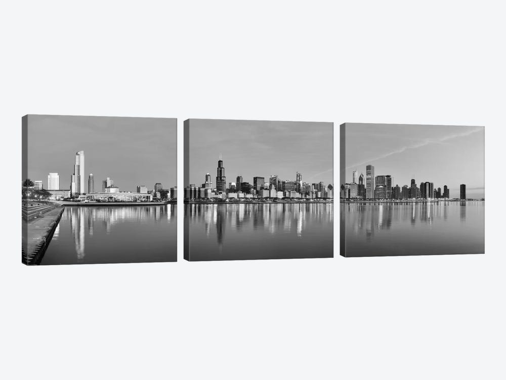 Chicago Panoramic Skyline Cityscape (Black & White - Sunset) 3-piece Canvas Wall Art