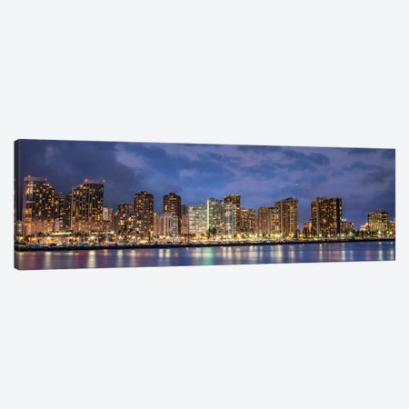 Honolulu Panoramic Skyline Cityscape (Sunset) Canvas Print #6267} by Unknown Artist Canvas Wall Art