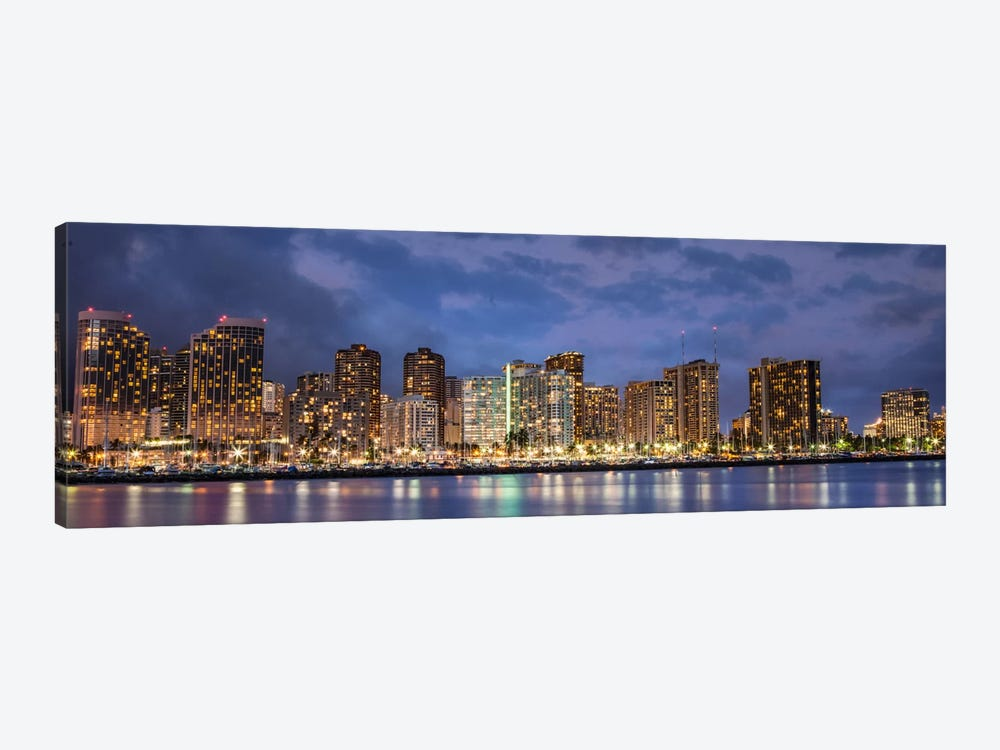 Honolulu Panoramic Skyline Cityscape (Sunset) 1-piece Canvas Wall Art