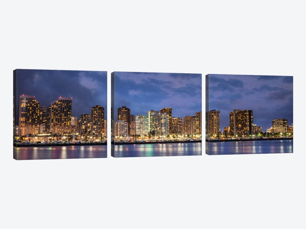Honolulu Panoramic Skyline Cityscape (Sunset) 3-piece Canvas Artwork