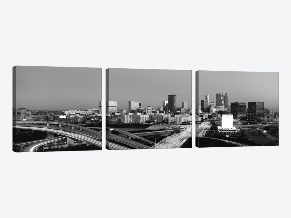 Atlanta Panoramic Skyline Cityscape (Black & White - Sunset) by Unknown Artist 3-piece Art Print