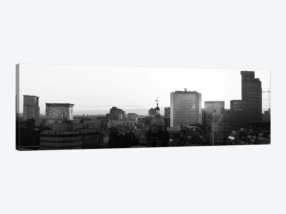 Birmingham Panoramic Skyline Cityscape (Black & White - Sunset) by Unknown Artist 1-piece Canvas Artwork