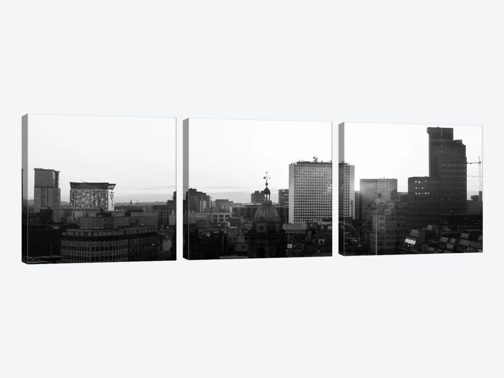 Birmingham Panoramic Skyline Cityscape (Black & White - Sunset) by Unknown Artist 3-piece Canvas Wall Art
