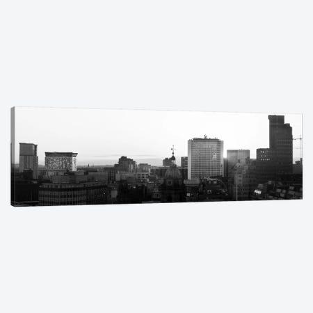 Birmingham Panoramic Skyline Cityscape (Black & White - Sunset) Canvas Print #6272} by Unknown Artist Canvas Art