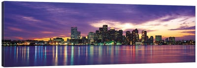 Boston Panoramic Skyline Cityscape (Sunset) Canvas Art Print