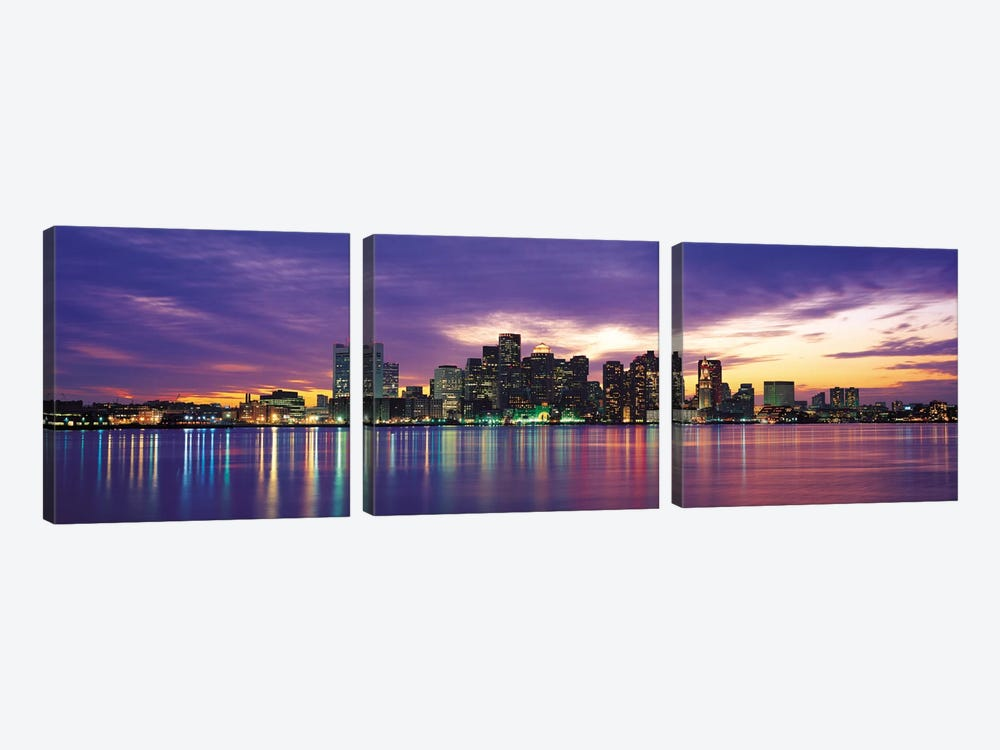 Boston Panoramic Skyline Cityscape (Sunset) 3-piece Canvas Art Print
