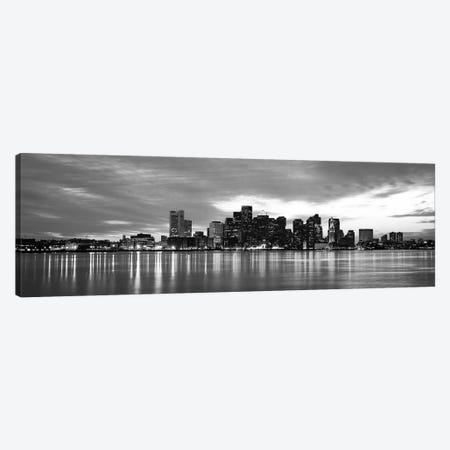 Boston Panoramic Skyline Cityscape (Black & White - Sunset) Canvas Print #6274} Canvas Art Print