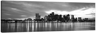 Boston Panoramic Skyline Cityscape (Black & White - Sunset) Canvas Art Print