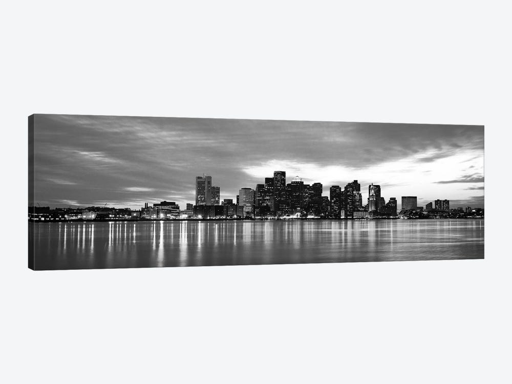 Boston Panoramic Skyline Cityscape (Black & White - Sunset) by Unknown Artist 1-piece Canvas Artwork