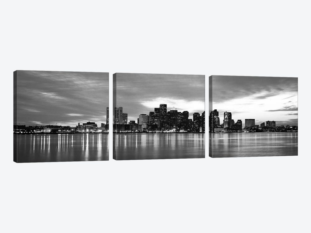 Boston Panoramic Skyline Cityscape (Black & White - Sunset) 3-piece Canvas Art