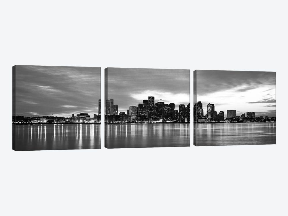 Boston Panoramic Skyline Cityscape (Black & White - Sunset) by Unknown Artist 3-piece Canvas Art