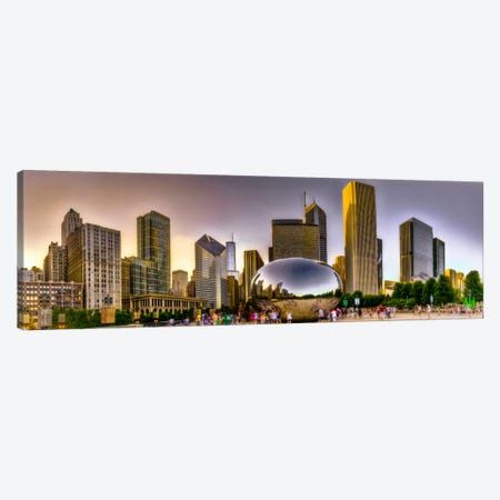 Chicago Panoramic Skyline Cityscape (Sunset) Canvas Print #6275} by Unknown Artist Canvas Print