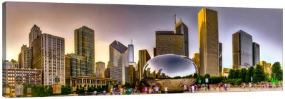 Chicago Panoramic Skyline Cityscape (Sunset) Canvas Print #6275