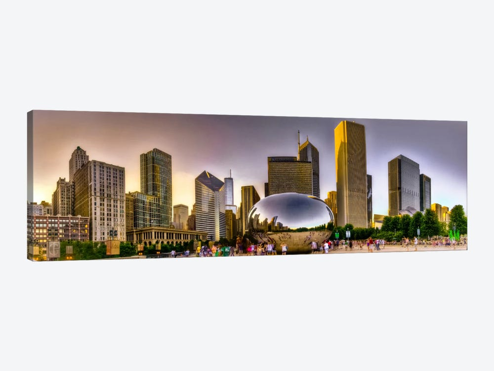 Chicago Panoramic Skyline Cityscape (Sunset) by Unknown Artist 1-piece Art Print