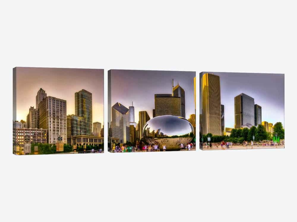 Chicago Panoramic Skyline Cityscape (Sunset) by Unknown Artist 3-piece Art Print