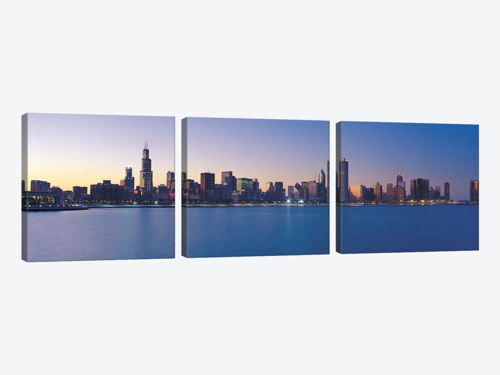 Chicago Panoramic Skyline Cityscape (Sunset) by Unknown Artist 3-piece Canvas Art