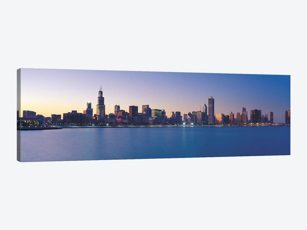 Chicago Panoramic Skyline Cityscape (Sunset) by Unknown Artist 1-piece Canvas Artwork