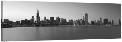 Chicago Panoramic Skyline Cityscape (Black & White - Sunset) Canvas Print #6277