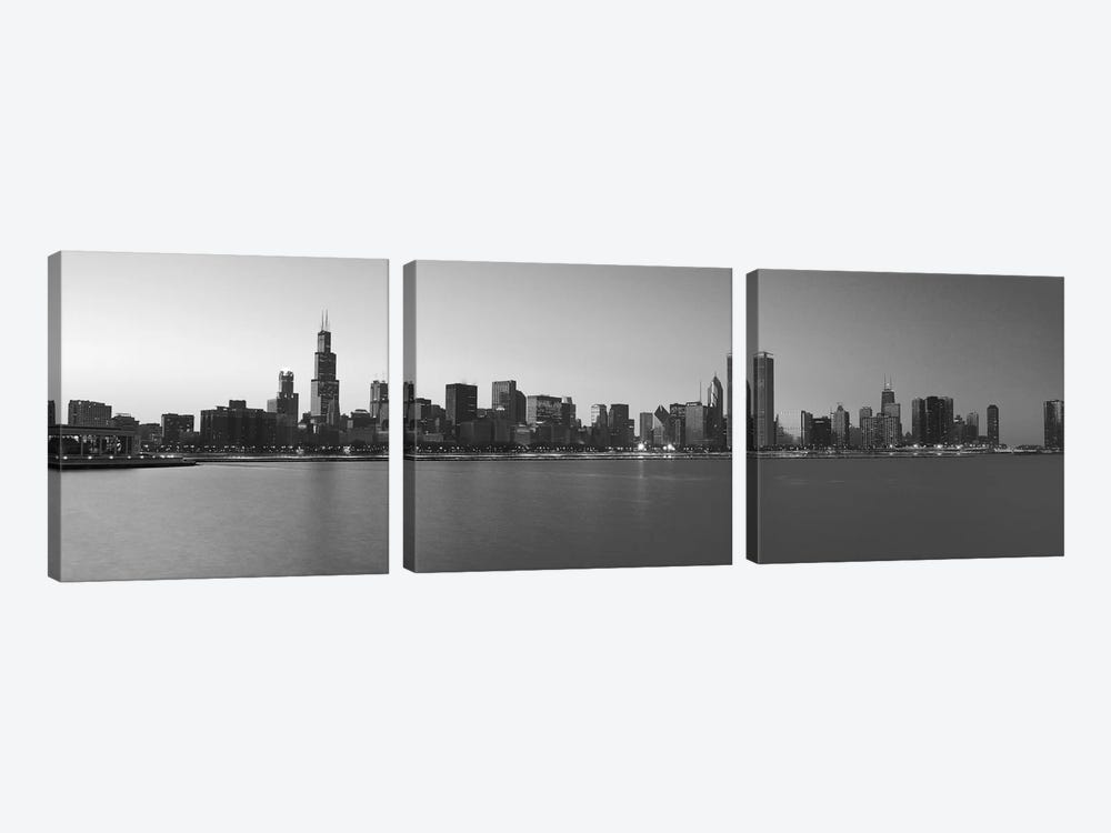 Chicago Panoramic Skyline Cityscape (Black & White - Sunset) by Unknown Artist 3-piece Art Print