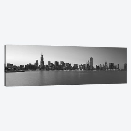 Chicago Panoramic Skyline Cityscape (Black & White - Sunset) Canvas Print #6277} by Unknown Artist Canvas Art Print