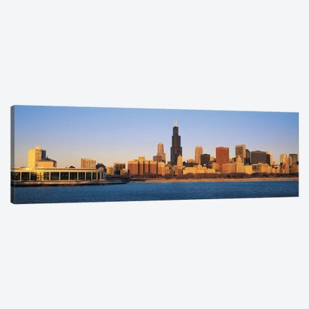 Chicago Panoramic Skyline Cityscape (Sunset) Canvas Print #6278} by Unknown Artist Canvas Art