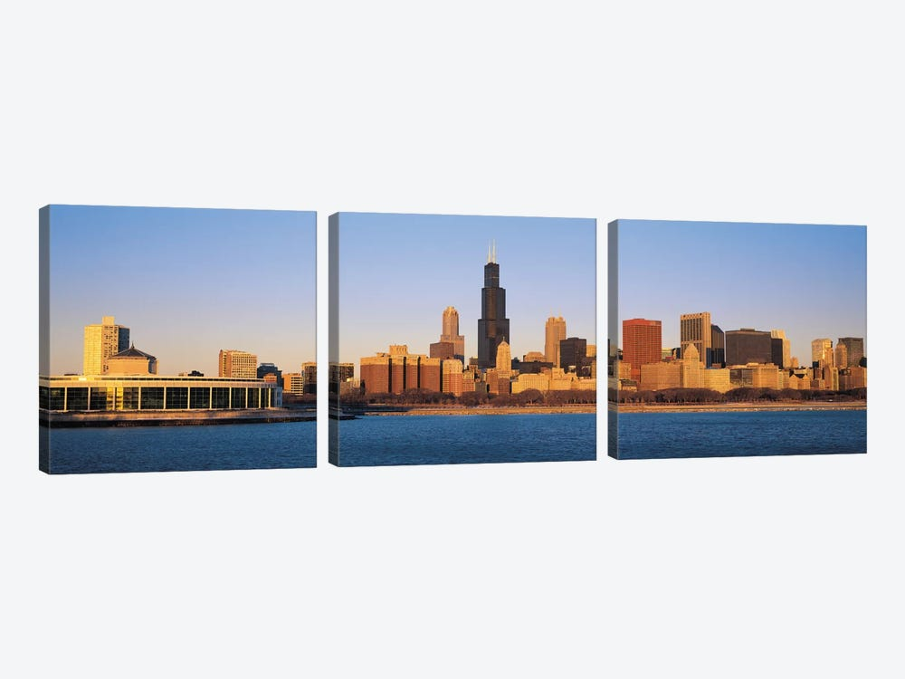 Chicago Panoramic Skyline Cityscape (Sunset) 3-piece Canvas Artwork