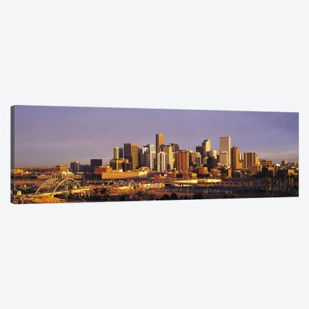 Denver Panoramic Skyline Cityscape (Sunset) Canvas Print #6285} Canvas Wall Art