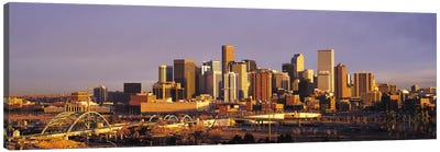 Denver Panoramic Skyline Cityscape (Sunset) Canvas Art Print