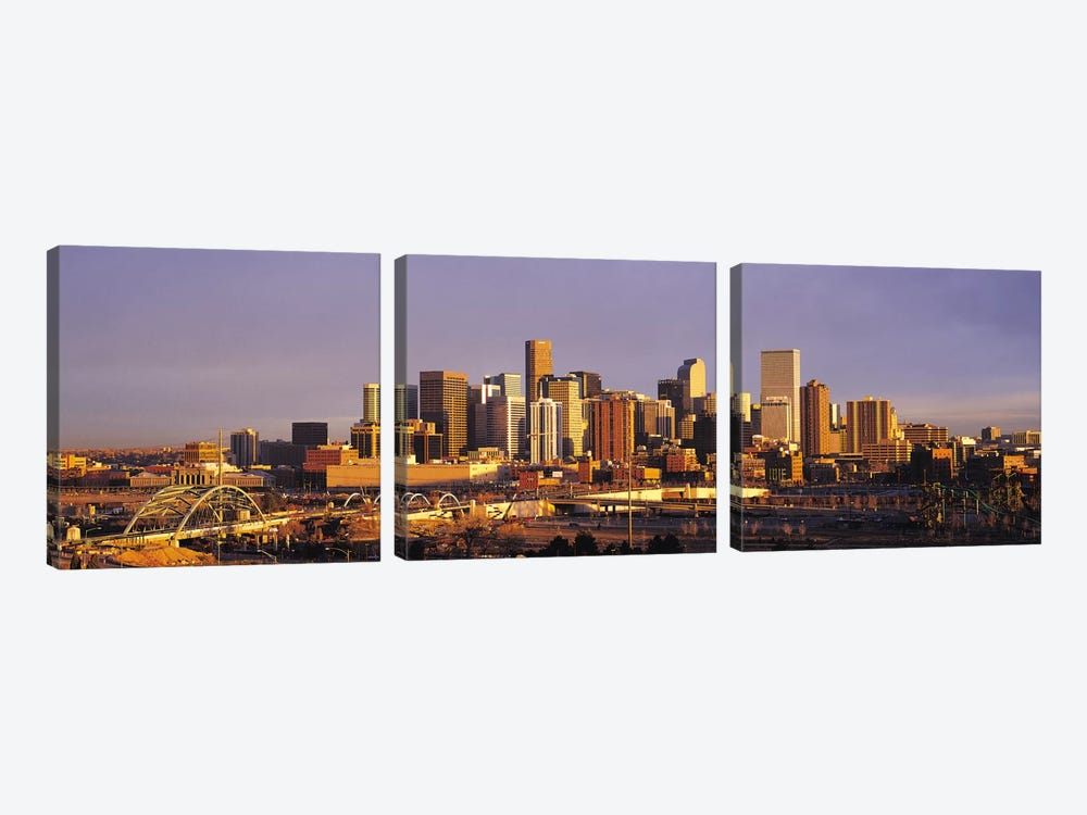 Denver Panoramic Skyline Cityscape (Sunset) by Unknown Artist 3-piece Canvas Artwork