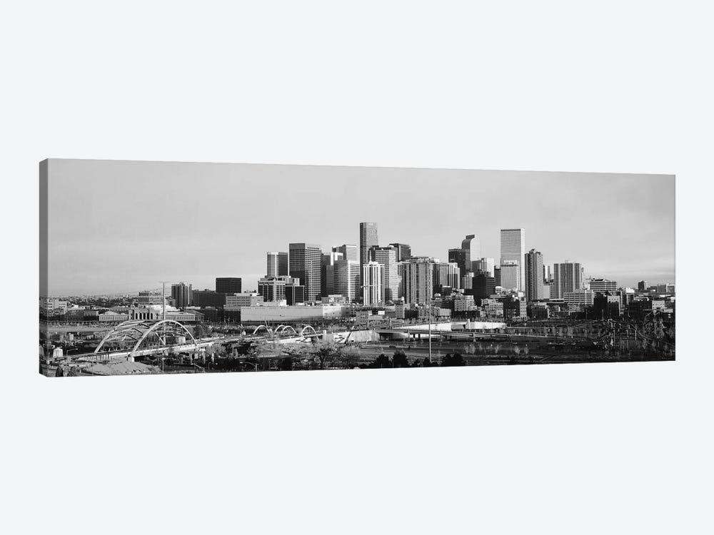 Denver Panoramic Skyline Cityscape (Black & White - Sunset) by Unknown Artist 1-piece Canvas Print