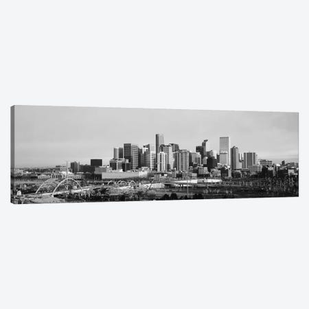 Denver Panoramic Skyline Cityscape (Black & White - Sunset) Canvas Print #6286} by Unknown Artist Canvas Art