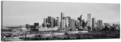 Denver Panoramic Skyline Cityscape (Black & White - Sunset) Canvas Print #6286