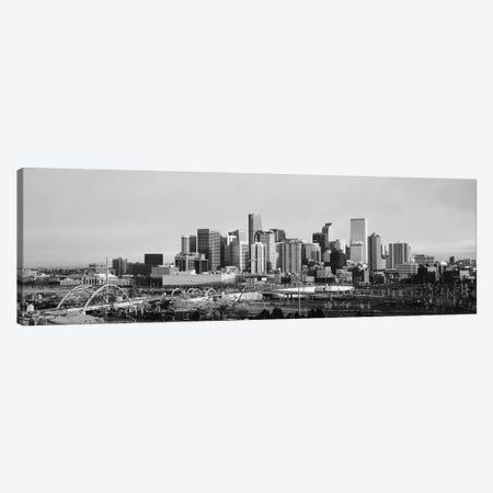 Denver Panoramic Skyline Cityscape (Black & White - Sunset) Canvas Print #6286} by Unknown Artist Canvas Art
