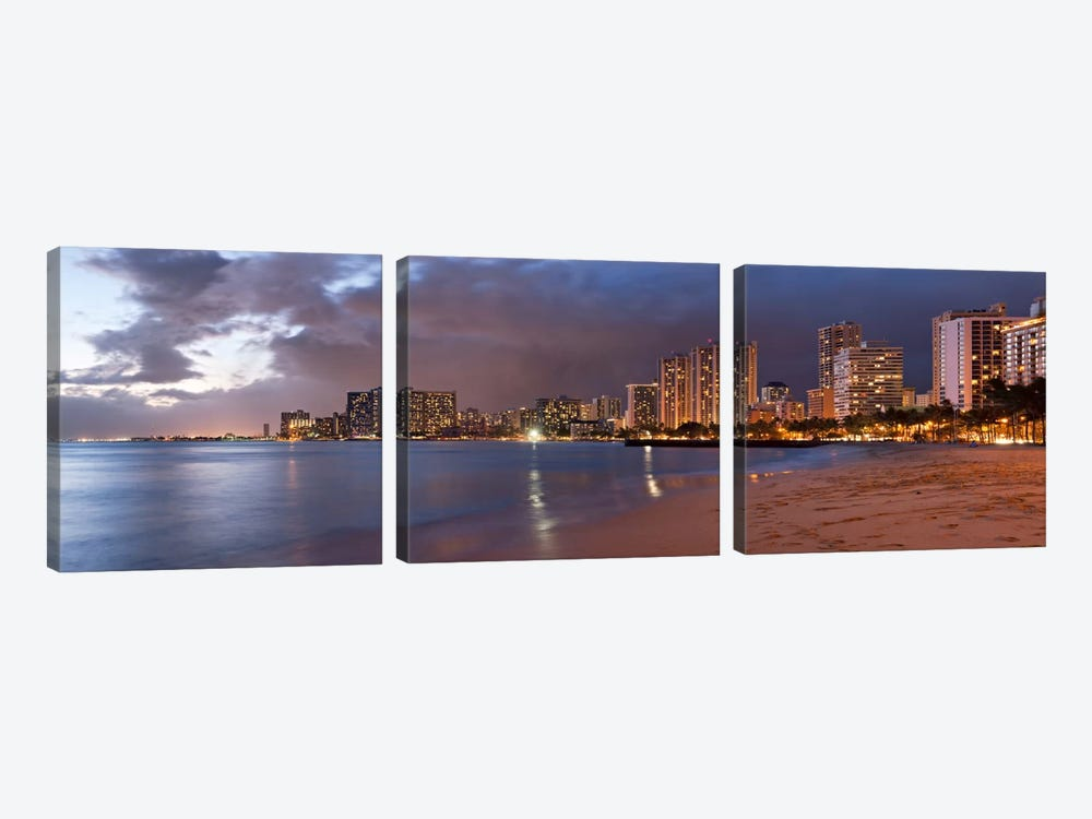 Honolulu Panoramic Skyline Cityscape (Sunset) by Unknown Artist 3-piece Canvas Print