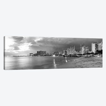 Honolulu Panoramic Skyline Cityscape (Black & White - Sunset) Canvas Print #6289} by Unknown Artist Canvas Print