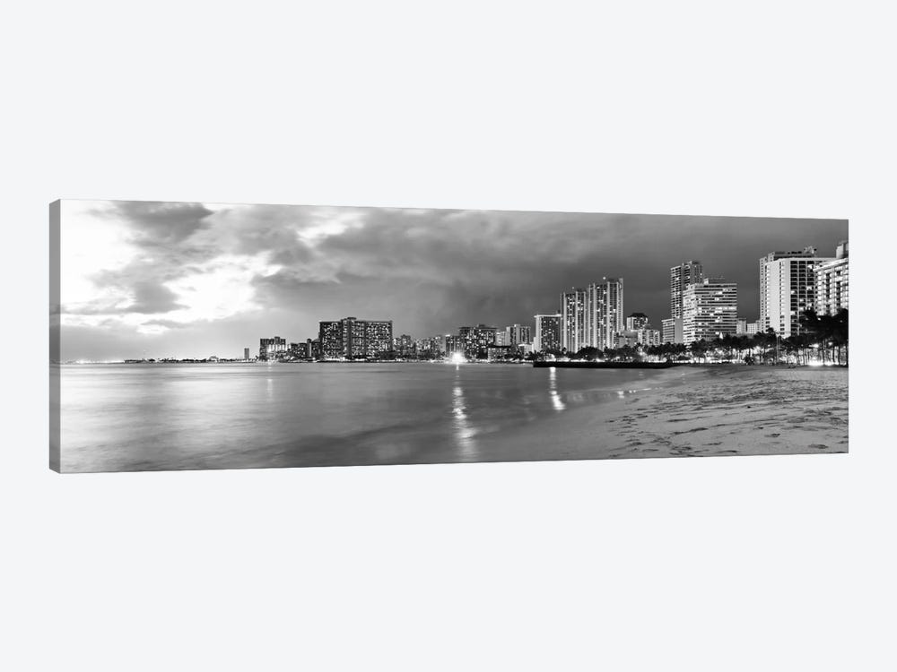 Honolulu Panoramic Skyline Cityscape (Black & White - Sunset) 1-piece Canvas Wall Art