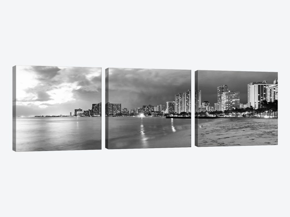 Honolulu Panoramic Skyline Cityscape (Black & White - Sunset) 3-piece Canvas Wall Art
