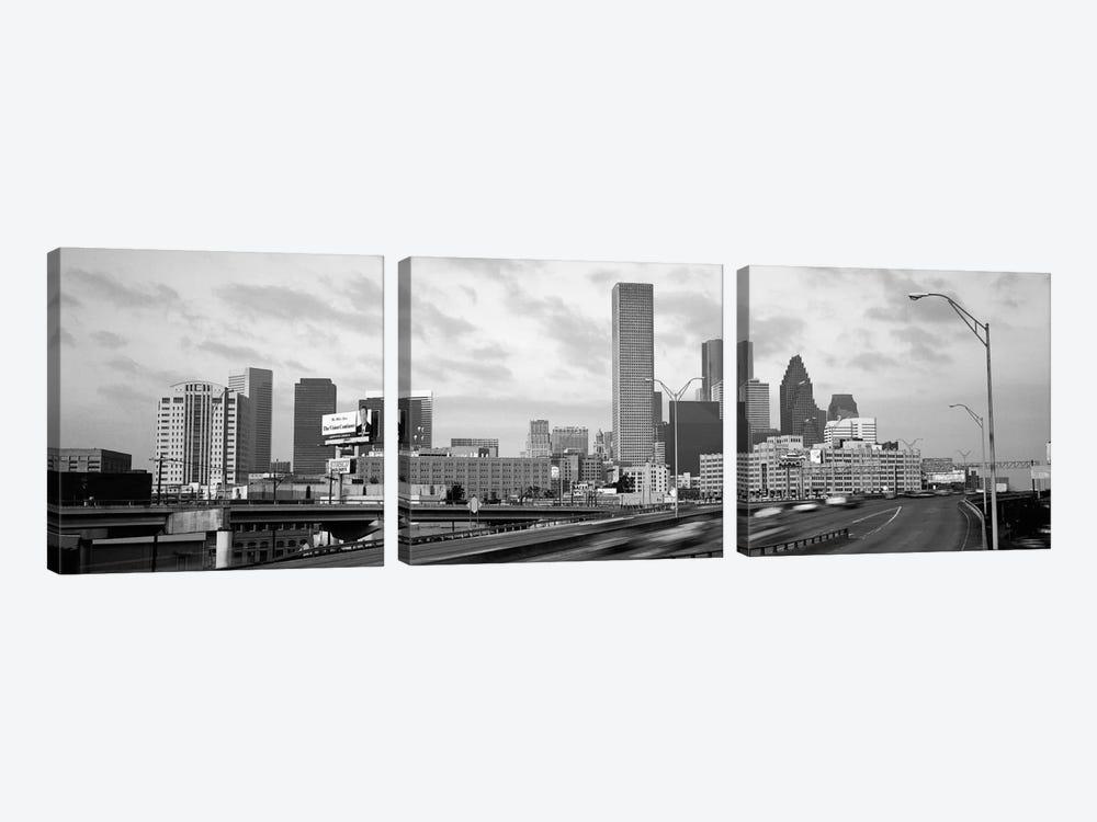 Houston Panoramic Skyline Cityscape (Black & White - Sunset) by Unknown Artist 3-piece Canvas Wall Art