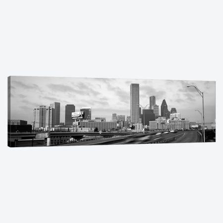 Houston Panoramic Skyline Cityscape (Black & White - Sunset) Canvas Print #6290} Canvas Artwork