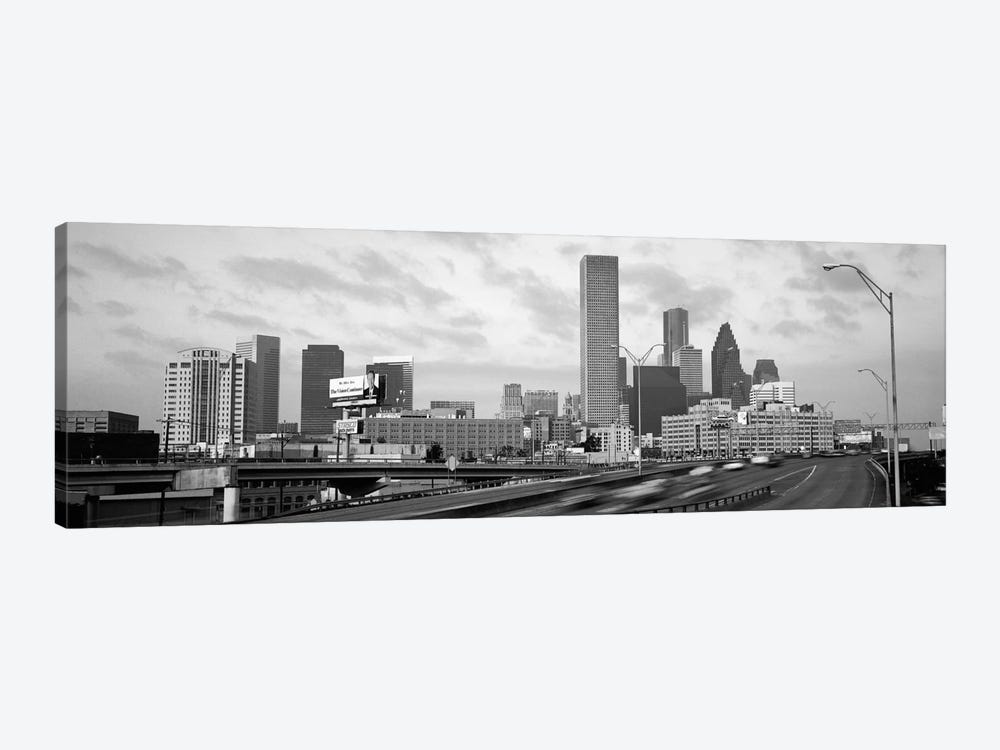 Houston Panoramic Skyline Cityscape (Black & White - Sunset) 1-piece Canvas Wall Art