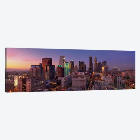 Los Angeles Panoramic Skyline Cityscape (Sunset) Canvas Print #6294} Canvas Print