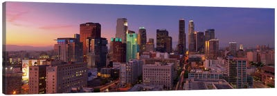 Los Angeles Panoramic Skyline Cityscape (Sunset) Canvas Art Print